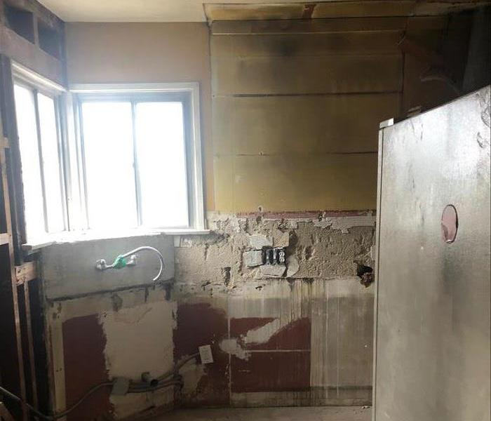 Fire damage in a kitchen.